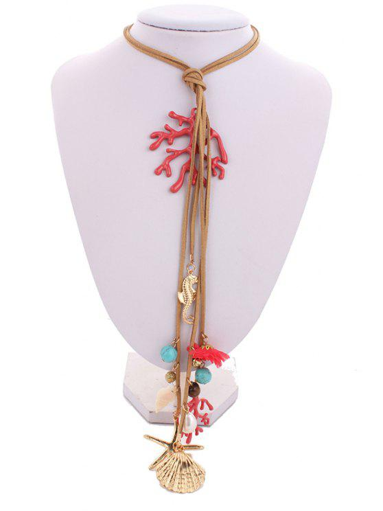 latest Coral Starfish Shell Pendant Rope Necklace - CAMEL