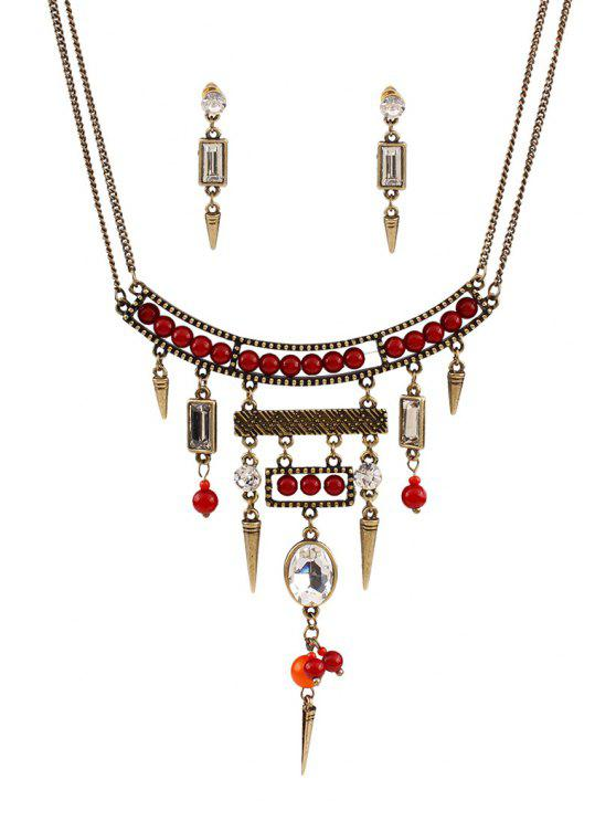 ladies Bullet Bead Ethnic Necklace and Earrings - GOLDEN