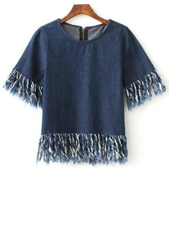 Cremallera en la espalda con flecos dril de algodón de la camiseta - Azul L