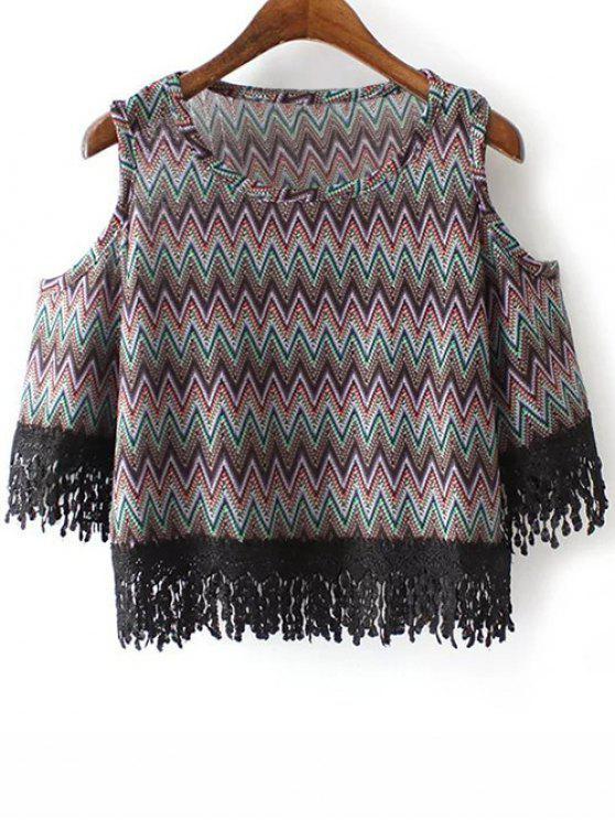 Cold Shoulder cuello redondo zigzag Camiseta con estampado - Negro S