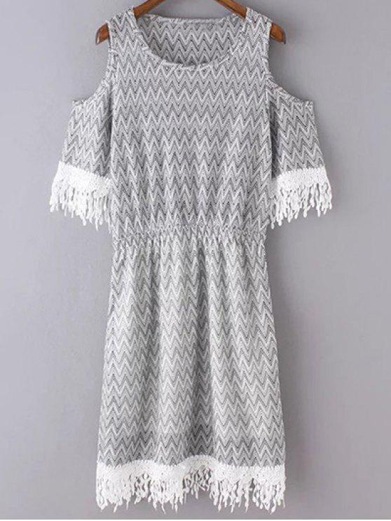 Cold Shoulder cuello redondo vestido de la impresión del zigzag - Gris Claro M