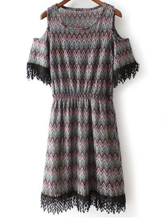 fashion Cold Shoulder Round Neck Zig Zag Print Dress - BLACK L