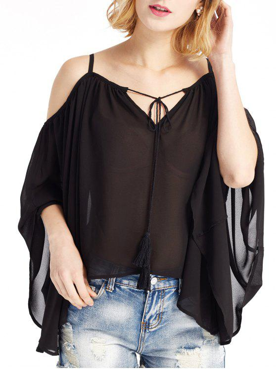 women Cold Shoulder Cami Blouse - BLACK M