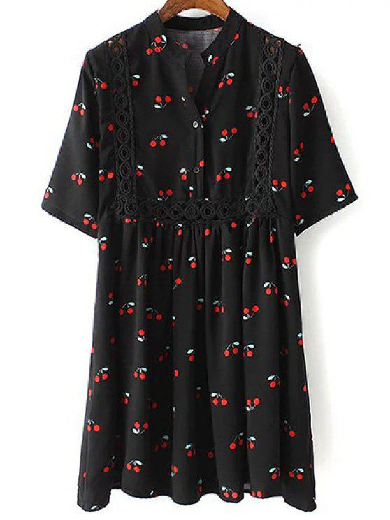 outfit Cherry Print Stand Neck 3/4 Sleeve Dress - BLACK L