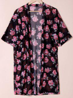 Collarless See Through Floral Print Kimono - Black L