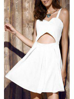 Bare Midriff Strap Dress - White M