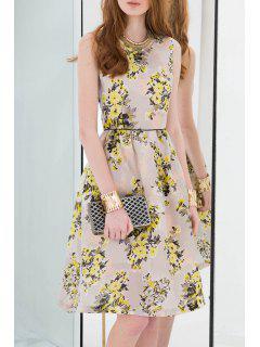 Floral Print Mi-longues Robe Sans Manches - Jaune S