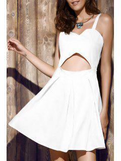 Bare Midriff Strap Dress - White Xl