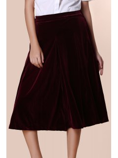 Solid Color High Wasit Wide Leg Velvet Pants - Dark Red Xl