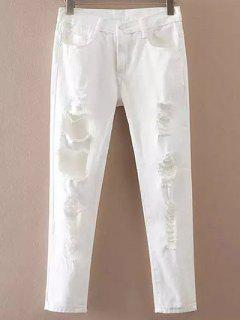 Pockets Ripped Casual White Jeans - White Xl