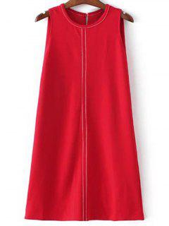 Sleeveless A-Line Dress - Red S