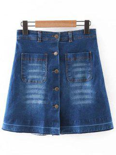 Poches Single-breasted Taille Haute A-Line Jupe En Denim - Bleu S