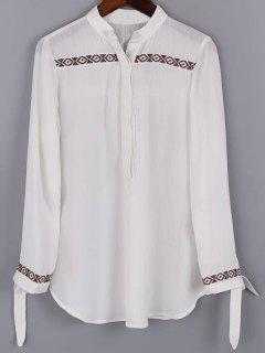 Bordado Con Cuello En V Blusa Blanca - Blanco S