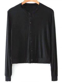 T-shirt Couleur Unie Single-breasted Col Rond Manches Longues - Noir L
