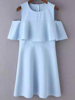 Cutout Shoulder Ruffles Sundress - Blue L
