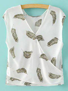 Feather Print V-cou Sans Manches Blouse - Blanc M