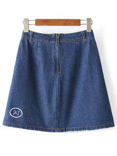 Letter Patchwork Pockets Ripped Denim Skirt - Denim Blue S