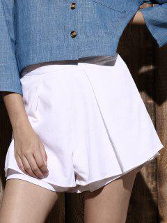 Layered Pure Color Shorts - White L