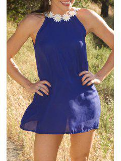 Daisy Strap Low Back Sun Dress - Purplish Blue S