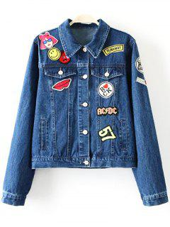 Patch Design Denim Turn Down Collar Jacket - Blue S