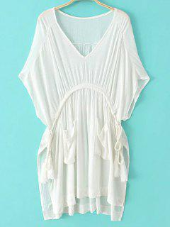 White Plunging Neck Half Sleeve Side Slit Dress - White