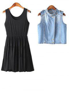 Stylish Black A Line Sundress And Denim Waistcoat Women's Twinset - Black M