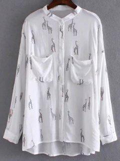 Giraffe Print Chemise Blanche - Blanc S