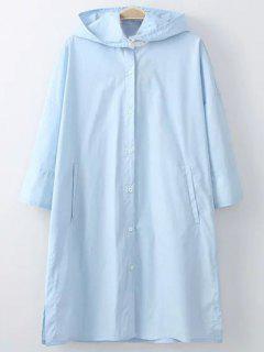 Botón Con Capucha Delantera De La Blusa De Protección Solar - Azul Claro S
