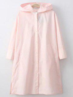 Hooded Button Front Sunscreen Blouse - Pink S