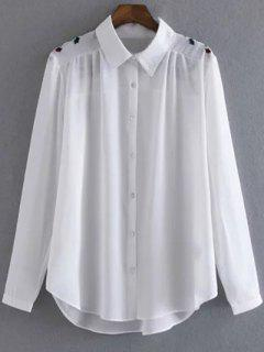 Embroidered Shoulder Chiffon Shirt - White S