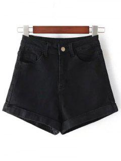 High-Rise Denim Shorts - Black 26