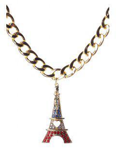 Eiffel Tower Pendant Necklace - Golden