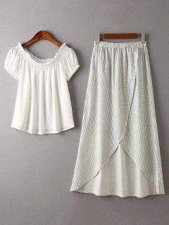 Color Sólido De La Gasa De La Camiseta De Rayas Y Falda De Twinset - Blanco S