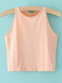 Cropped Ribbed Tank Top - Pink Xs