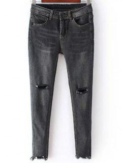 Ripped Vintage Rough Selvedge Jeans - Black Grey L