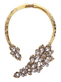 White Faux Crystal Flower Statement Necklace - Golden
