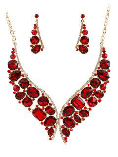 Butterfly Jewelry Necklace And Earrings - Red