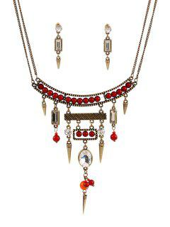 Bullet Bead Ethnic Necklace And Earrings - Golden