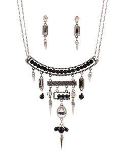 Bullet Bead Ethnic Necklace And Earrings - Silver