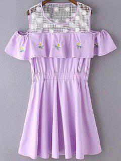 Mesh Spliced Round Neck Floral Embroidery Dress - Light Purple Xl