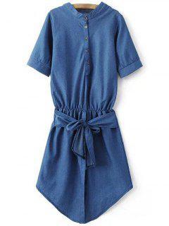 Waisted Tie-Front Denim Dress - Blue Xl