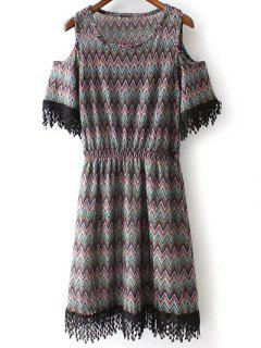 Cold Shoulder Round Neck Zig Zag Print Dress - Black L