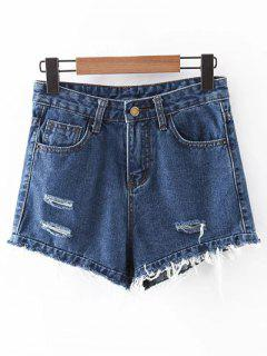 Frayed High-Rise Denim Shorts - Deep Blue S