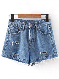 Frayed High-Rise Denim Shorts - Light Blue S