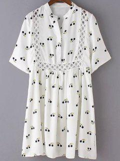 Cherry Print Stand Neck 3/4 Sleeve Dress - White L