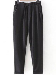 Elastic Waist Rolled Cuff Harem Pants - Black S