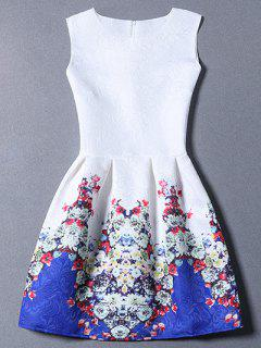 Fitting Flower Print Round Neck Sleeveless Dress - White S
