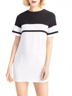 Hit Color Round Neck Short Sleeves Dress - White And Black S