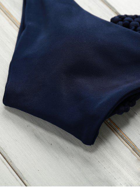 chic Print Halter Self Tie Bikini Set - DEEP BLUE M Mobile