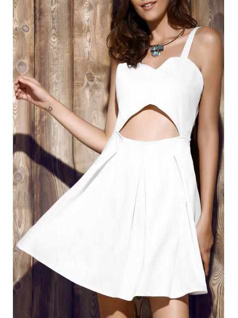 shop Bare Midriff Strap Dress - WHITE S Mobile